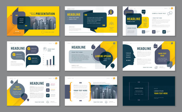 abstract presentation templates, infographic black and yellow elements template design set - brochure templates stock illustrations, clip art, cartoons, & icons
