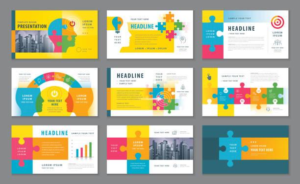 bildbanksillustrationer, clip art samt tecknat material och ikoner med abstrakta mallar presentation, infographic element malldesign - puzzle