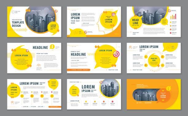 stockillustraties, clipart, cartoons en iconen met abstracte presentatiesjablonen, infographic elementen sjabloon ontwerpset - uitvoering