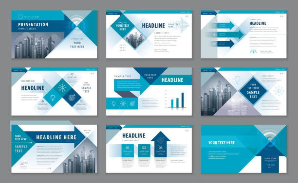 abstract presentation templates, infographic elements template design set - brochure templates stock illustrations, clip art, cartoons, & icons