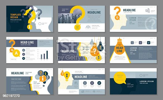 Abstract Presentation Templates, Infographic elements Template design set, Black And Yellow Human head with Light Bulb and Question Mark Background vector, Problem; trouble, Questions and Answers, information