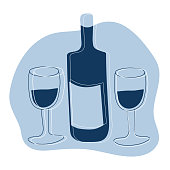 istock Abstract print, minimalism. Wine bottle with two glasses. Caricatures, hand-drawn. Celebrating the holiday. Vector print on clothes 1311918948