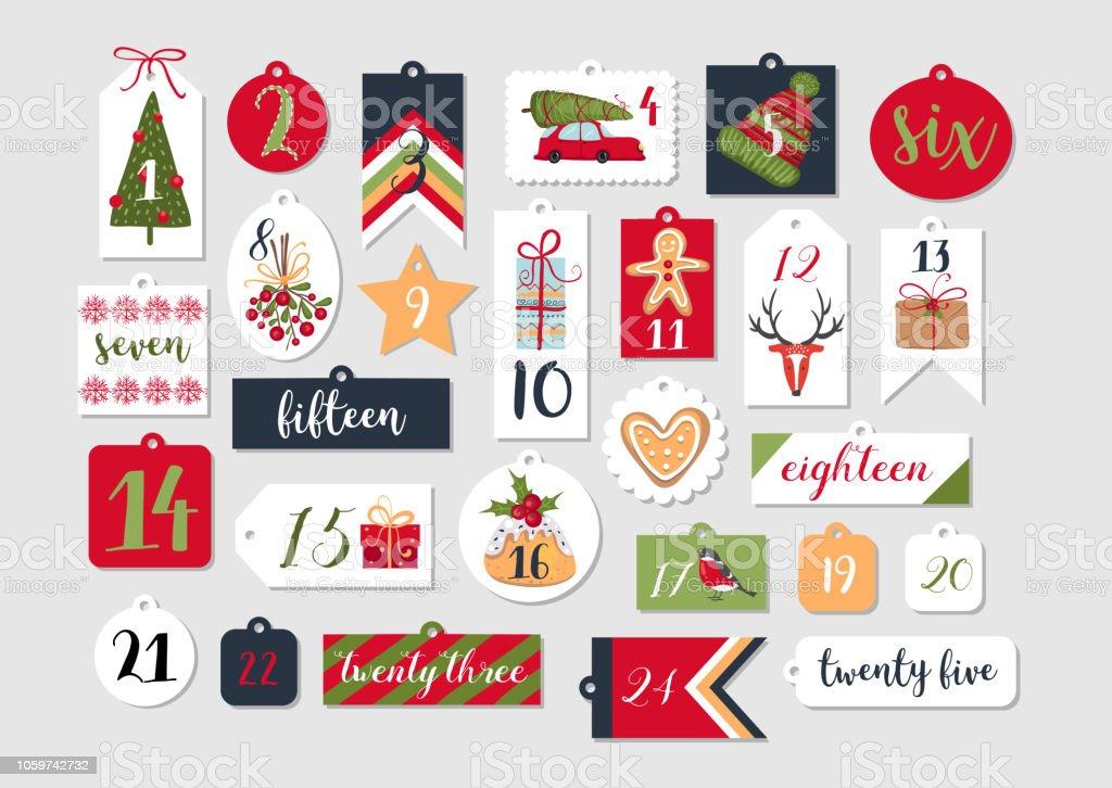 Resumen para imprimir etiquetas de colección para Navidad, año nuevo. Calendario de Adviento. Ilustración de vector. Felices vacaciones - ilustración de arte vectorial