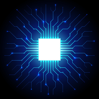 Abstract processor, computer digital chip, printed circuit board. Artificial intelligence. Dark blue technology background, template, design element for web banner, poster. Vector cyber graphics