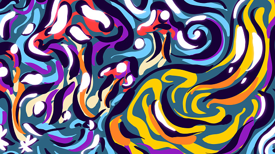 Abstract psychedelic hand-drawn illustration - Composition with liquid paints.