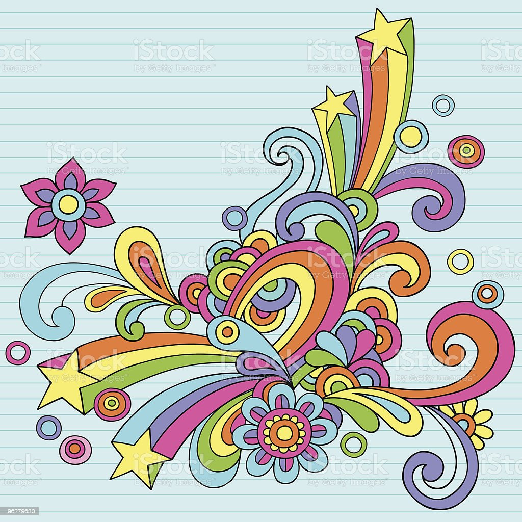Abstract Psychedelic Notebook Doodles vector art illustration