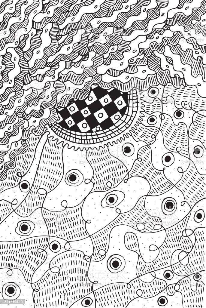 Abstrakte Psychedelische Surreale Doodle Malvorlagen Für Erwachsene