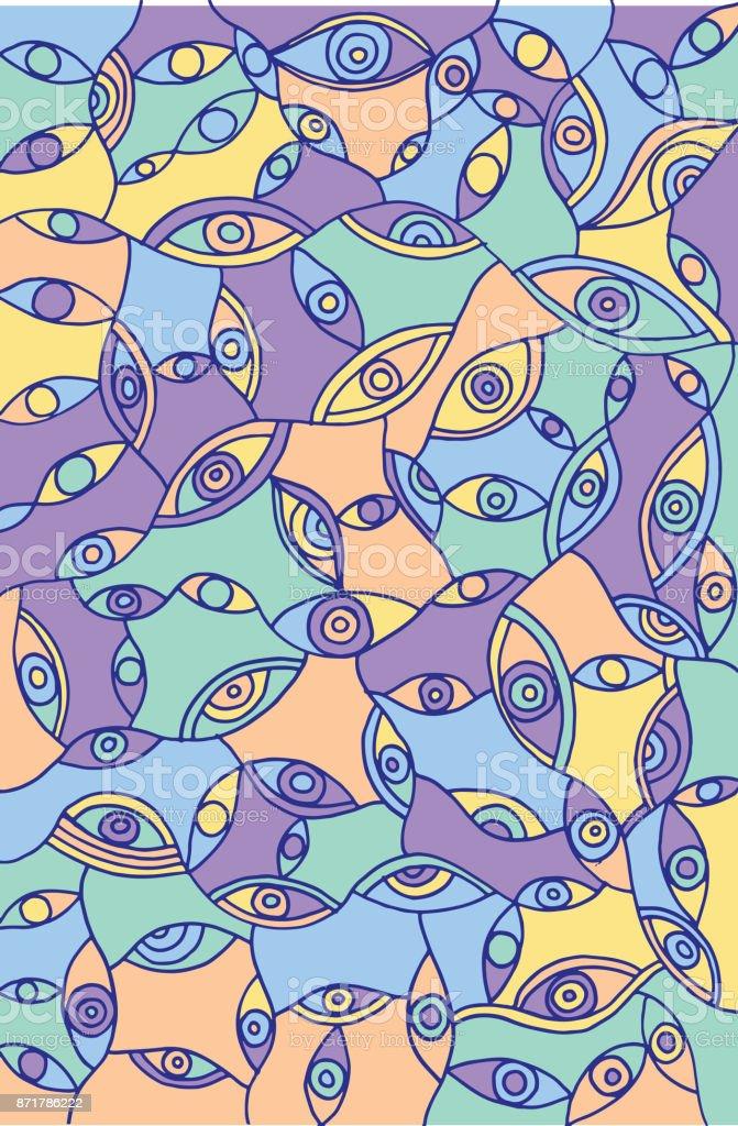 Ilustración de Resumen Ojos Psicodélicos Doodle Surrealista Doodle ...