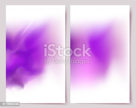 Abstract Purple Banners. Set Of Holi colorful backgrounds with powder paint clouds. Vector Illustration