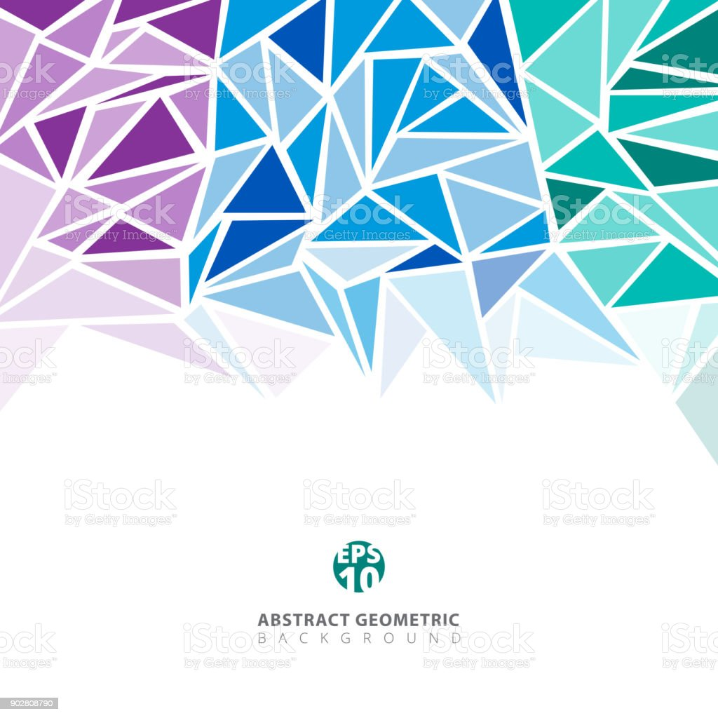 Abstract Purple Blue Green Geometric And Triangle Patterns For Background Texture With Copy Space