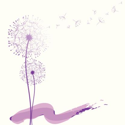 Abstract purple dandelion in the wind wallpaper