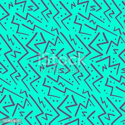 istock Abstract purple on blue zig zag seamless pattern 1028326222