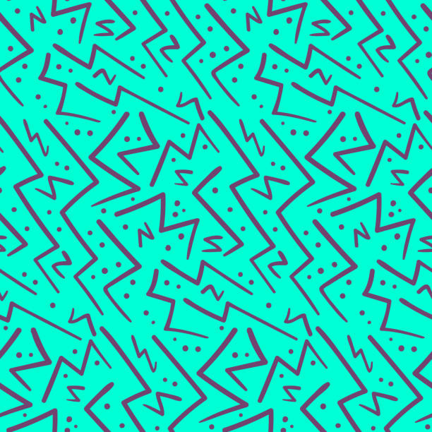 illustrazioni stock, clip art, cartoni animati e icone di tendenza di abstract purple on blue zig zag seamless pattern - zigzag