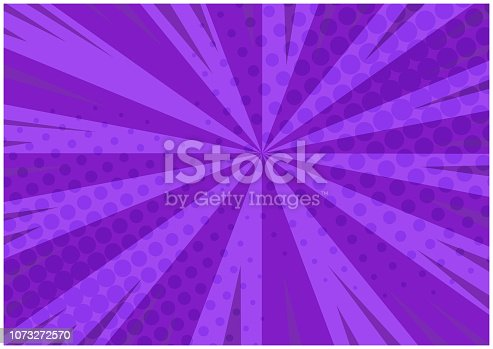 Abstract purple striped retro comic background with halftone corners. Cartoon deep violet background with stripes and halftone pattern for comics book, advertising design, poster, print