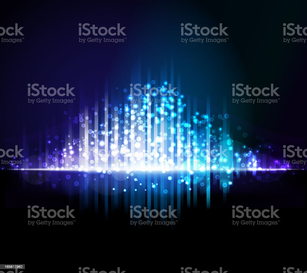 Abstract purple, white, & blue light beams background vector art illustration