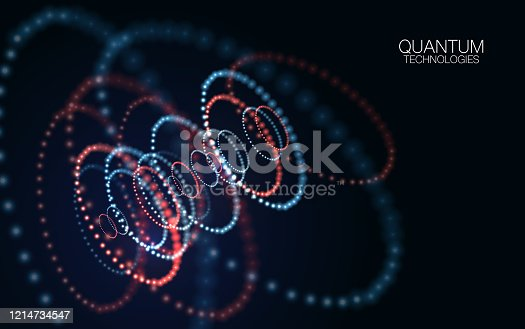 Abstract quantum technology background. Glowing particles and blurred circles. Digital innovation concept for your design.