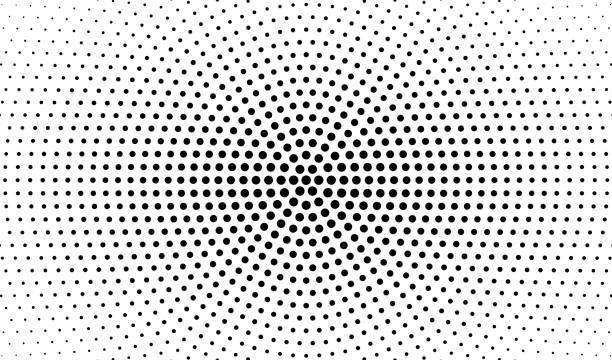 Abstract radial gradient in halftone style. Retro and vintage. Hipster pattern of dots for your projects. Black dots on a white background. Vector illustration. vector art illustration
