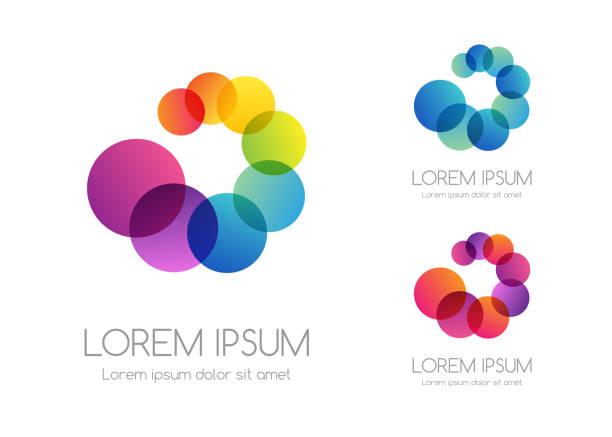 ilustrações de stock, clip art, desenhos animados e ícones de abstract rainbow color logo. colorful vector emblem. - imagem a cores