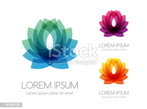 Abstract rainbow color logo of lotus. Colorful vector emblem.