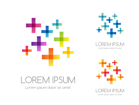 Abstract rainbow color logo. Colorful vector emblem from plus signs.