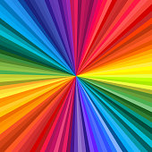 Background of vivid rainbow colored swirl twisting towards center. Vector illustration
