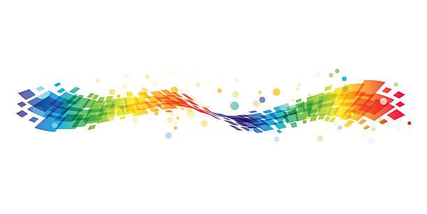 bildbanksillustrationer, clip art samt tecknat material och ikoner med abstract rainbow wave on white background - spektrum