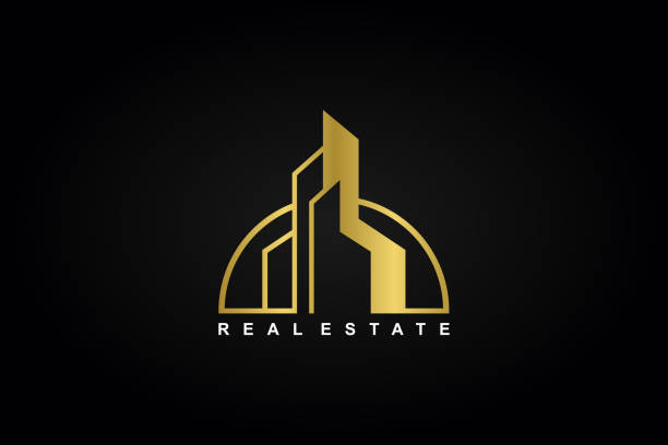 abstrakte immobilien, architekt, immobilien und minimalistische icon-design-vorlage vektorillustration - landhaus stock-grafiken, -clipart, -cartoons und -symbole