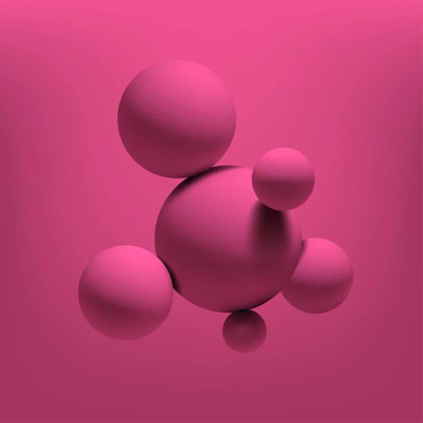 illustrations, cliparts, dessins animés et icônes de abstraits réalistes sphères 3d roses structurent fond. illustration vectorielle - abstract mirror