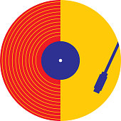 Vector illustration of a colorful abstract record playing.