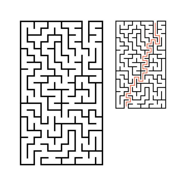 추상 직사각형 미로. 아이들을위한 게임. 아이들을위한 퍼즐. 입구 1개, 출구 1개. 미로 수수께끼. 흰색 배경에 격리된 플랫 벡터 그림입니다. 대답과 함께. - 미로찾기 stock illustrations