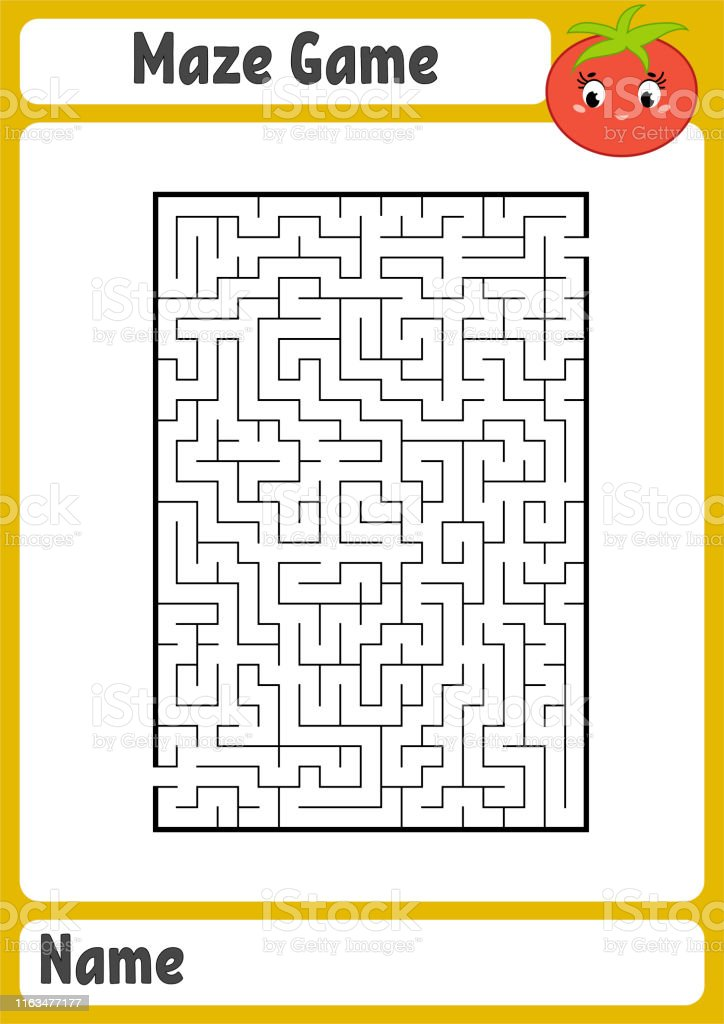 Abstract rectangular maze. Kids worksheets. Activity page. Game...