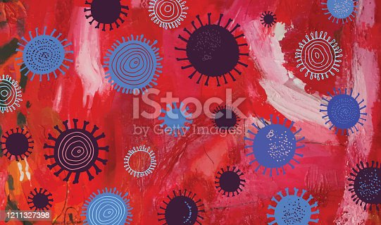 istock Abstract Red Acrylic Painting With Virus Pattern 1211327398