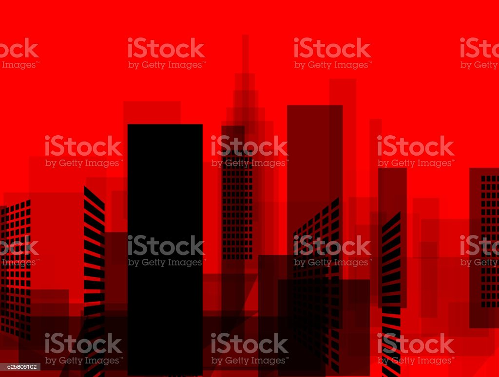 abstract red and black city pattern vector art illustration