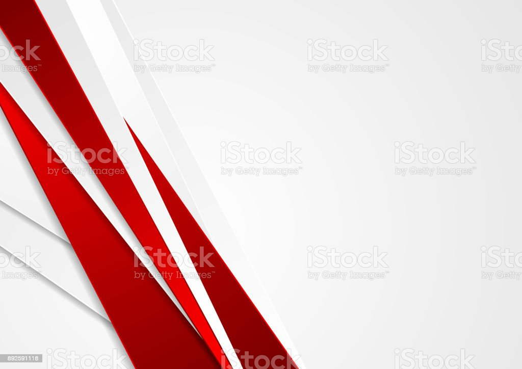 Abstract red and grey stripes corporate background vector art illustration