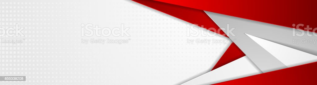 Abstract red and grey tech geometric banner design vector art illustration