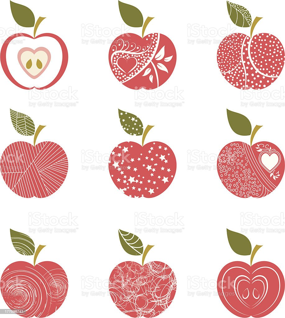 Abstract red apple patterns with white background vector art illustration