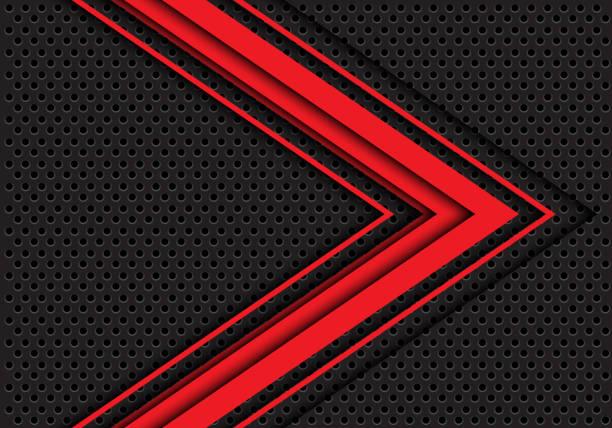 abstrakt rot 3d pfeilrichtung auf dunklen grauen kreis mesh design moderne futuristische hintergrund vektor-illustration. - edelrost stock-grafiken, -clipart, -cartoons und -symbole