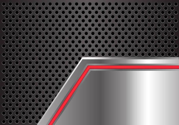 roter pfeil lichtlinie auf metallplatte mit grauer kreis mesh design moderne futuristische hintergrund vektor-illustration zu abstrahieren. - edelrost stock-grafiken, -clipart, -cartoons und -symbole