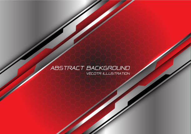 abstrakte rot-schwarze gradienten-hexagchen-meschen-schrägstrich auf silbernem polygon entwerfen moderne futuristische hintergrundvektordarstellung. - edelrost stock-grafiken, -clipart, -cartoons und -symbole