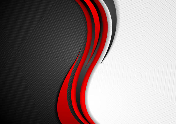 Abstract red black grey wavy tech background vector art illustration
