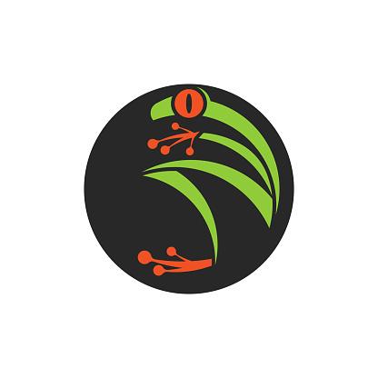 Abstract red eye tree frog logo round shape, amphibian animal icon