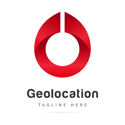 Abstract red Geotag or geolocation pin logo icon design in city map.GPS address elements graphic icon identity mark pin place.Design template vector isolated sign on white background.