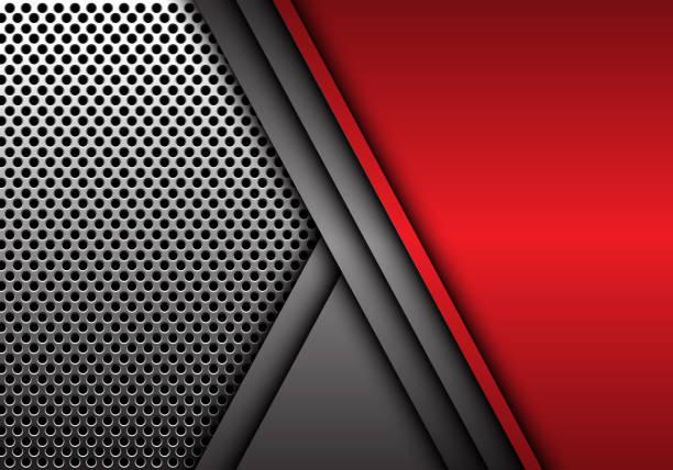 abstrakt rot grau metall überlappung auf kreis netz muster design moderne futuristische hintergrund vektor-illustration. - edelrost stock-grafiken, -clipart, -cartoons und -symbole