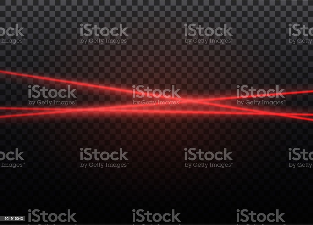 Abstract red laser beam. Transparent isolated on black background. Vector illustration.the lighting effect.floodlight directional vector art illustration
