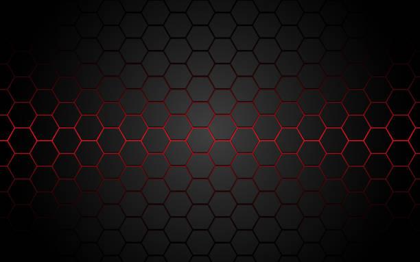 abstrakcyjna czerwona linia sześciokątna w szarej, nowoczesnej futurystycznej ilustracji wektora tła. - metal stock illustrations