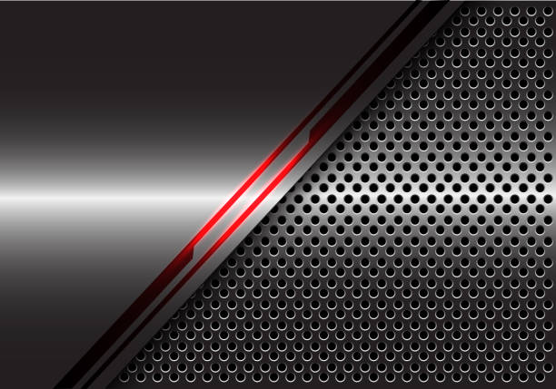 abstrakt rot linie lichtenergie auf graues metall mit kreis mesh design moderne futuristische technologie hintergrund vektor-illustration. - edelrost stock-grafiken, -clipart, -cartoons und -symbole