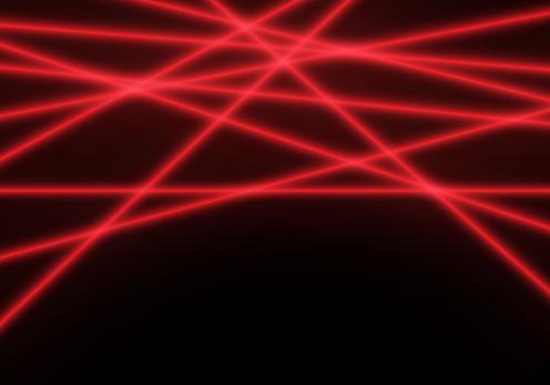 Abstract red line laser light beam on black technology background vector illustration.