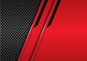 Abstract red metallic black line futuristic on grey circle mesh design modern luxury background vector illustration.
