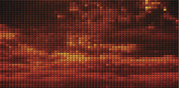 Best Abstract Red Mosaic Sunset Pattern Background