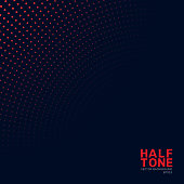 Abstract red neon color halftone pattern on dark background. Dotted texture template style. Vector illustration